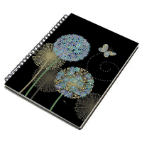 Blue Alliums Art Design Foil Embossed A6 Ruled Spiral Bound Notepad